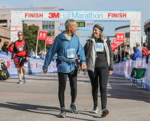 Friends enjoy the 3M Half Marathon together. Friends keep you accountable and support you.